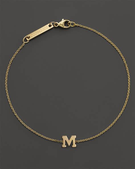 Zoe chicco 14k Yellow Gold Initial Bracelet in Yellow (M